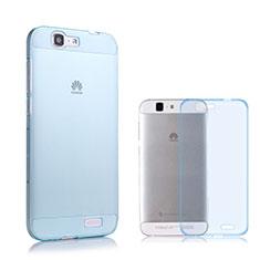 Custodia TPU Trasparente Ultra Sottile Morbida per Huawei Ascend G7 Blu