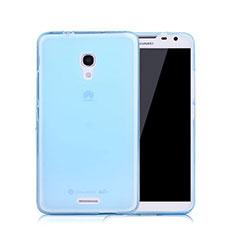 Custodia TPU Trasparente Ultra Sottile Morbida per Huawei Ascend Mate 2 Blu