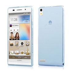 Custodia TPU Trasparente Ultra Sottile Morbida per Huawei Ascend P6 Blu