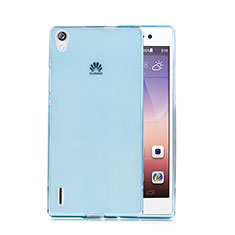 Custodia TPU Trasparente Ultra Sottile Morbida per Huawei Ascend P7 Blu