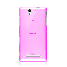 Custodia TPU Trasparente Ultra Sottile Morbida per Sony Xperia C3 Rosa