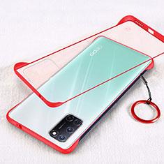 Custodia Ultra Sottile Trasparente Rigida Cover Opaca U01 per Oppo A72 Rosso