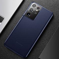 Custodia Ultra Sottile Trasparente Rigida Cover Opaca U01 per Samsung Galaxy S21 Ultra 5G Blu