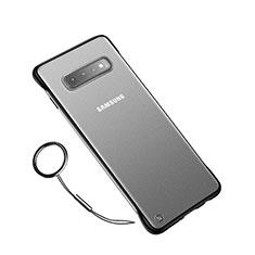 Custodia Ultra Sottile Trasparente Rigida Cover Opaca U02 per Samsung Galaxy S10 Nero