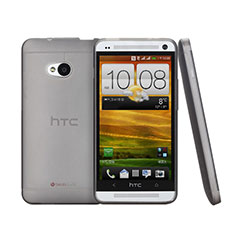 Custodia Ultra Sottile Trasparente Rigida Opaca per HTC One M7 Grigio