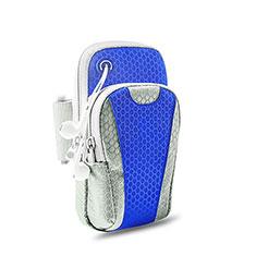 Fascia da Braccio Custodia Armband Corsa Sportiva Universale B32 per Asus Zenfone 3 ZE552KL Blu