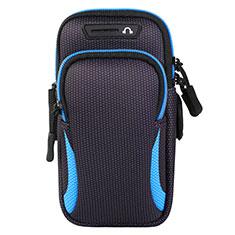 Fascia da Braccio Custodia Armband Corsa Sportiva Universale L01 per Samsung Galaxy S21 Plus 5G Blu