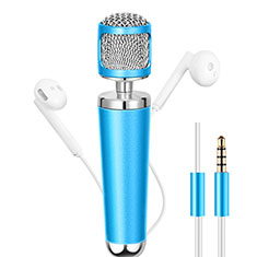 Microfono Mini Stereo Karaoke 3.5mm per Samsung Galaxy Note 10 Plus 5G Cielo Blu