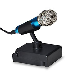 Microfono Mini Stereo Karaoke 3.5mm con Supporto Blu