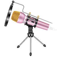 Microfono Mini Stereo Karaoke 3.5mm con Supporto M03 per Samsung Galaxy Note 10 Plus 5G Rosa