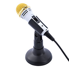 Microfono Mini Stereo Karaoke 3.5mm con Supporto M07 per Samsung Galaxy Note 10 Plus 5G Bianco