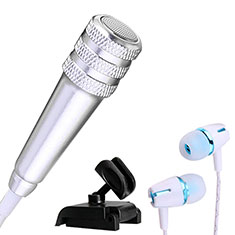 Microfono Mini Stereo Karaoke 3.5mm con Supporto M08 per Samsung Galaxy Note 10 Plus 5G Argento