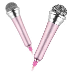 Microfono Mini Stereo Karaoke 3.5mm con Supporto M12 per Samsung Galaxy Note 10 Plus 5G Rosa