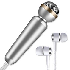 Microfono Mini Stereo Karaoke 3.5mm M02 per Samsung Galaxy Note 10 Plus 5G Argento