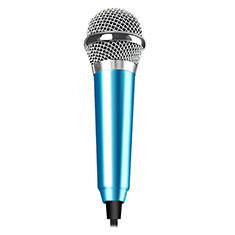 Microfono Mini Stereo Karaoke 3.5mm M04 per Samsung Galaxy S21 5G Cielo Blu