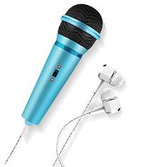 Microfono Mini Stereo Karaoke 3.5mm M05 per Samsung Galaxy S21 5G Cielo Blu