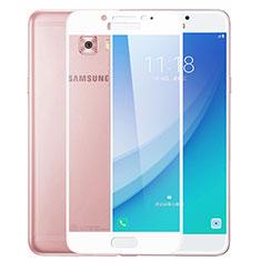 Pellicola in Vetro Temperato Protettiva Integrale Proteggi Schermo Film F02 per Samsung Galaxy C7 Pro C7010 Bianco