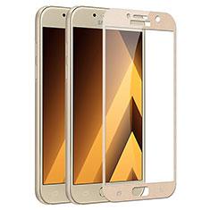 Pellicola in Vetro Temperato Protettiva Integrale Proteggi Schermo Film F03 per Samsung Galaxy A7 (2017) A720F Oro