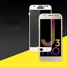 Pellicola in Vetro Temperato Protettiva Integrale Proteggi Schermo Film per Samsung Galaxy J3 Pro (2017) Bianco