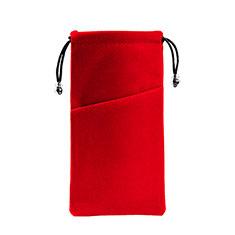 Sacchetto in Velluto Custodia Marsupio Tasca Universale K02 per Samsung Galaxy M21s Rosso