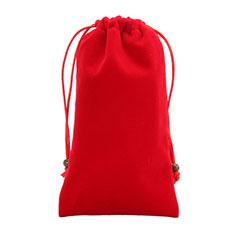 Sacchetto in Velluto Custodia Marsupio Tasca Universale per Sharp AQUOS Sense4 Plus Rosso