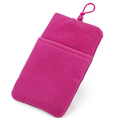Sacchetto in Velluto Custodia Marsupio Universale T01 per Apple iPhone 11 Pro Rosa Caldo