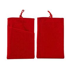 Sacchetto in Velluto Custodia Marsupio Universale T01 per Samsung Galaxy M21s Rosso
