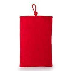 Sacchetto in Velluto Custodia Tasca Marsupio Universale per Samsung Galaxy Z Fold2 5G Rosso