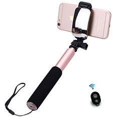 Sostegnotile Bluetooth Selfie Stick Allungabile Bastone Selfie Universale S13 per Huawei Y7 Prime Oro Rosa