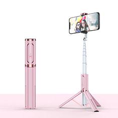 Sostegnotile Bluetooth Selfie Stick Tripode Allungabile Bastone Selfie Universale T26 per Samsung Galaxy M21s Oro Rosa