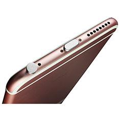 Tappi Antipolvere Anti-dust Lightning USB Jack Antipolvere J02 per Apple iPhone 12 Pro Max Argento