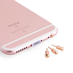Tappi Antipolvere Jack Cuffie 3.5mm Anti-dust Android Apple Anti Polvere Universale D05 per Samsung Galaxy A60 Oro Rosa