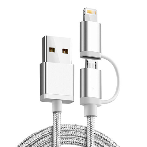 Cavo da Lightning USB a Cavetto Ricarica Carica Android Micro USB C01 per Apple iPhone 11 Argento