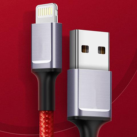 Cavo da USB a Cavetto Ricarica Carica C03 per Apple iPhone 11 Pro Rosso
