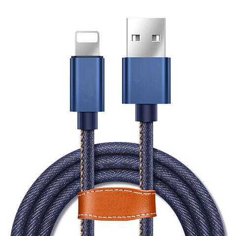 Cavo da USB a Cavetto Ricarica Carica L04 per Apple iPhone 11 Pro Blu
