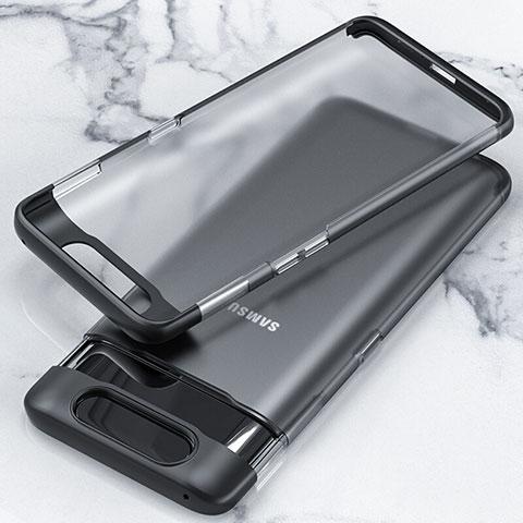 Cover Crystal Trasparente Rigida Cover H02 per Samsung Galaxy A80 Nero