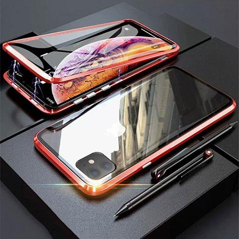 Custodia Lusso Alluminio Laterale Specchio 360 Gradi Cover M03 per Apple iPhone 11 Rosso