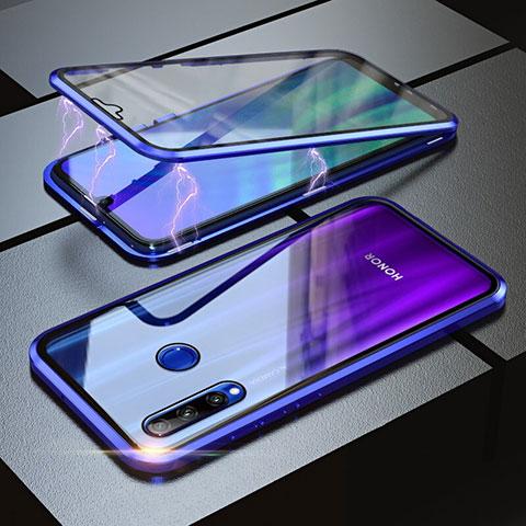 Custodia Lusso Alluminio Laterale Specchio 360 Gradi Cover per Huawei Honor 20 Lite Blu
