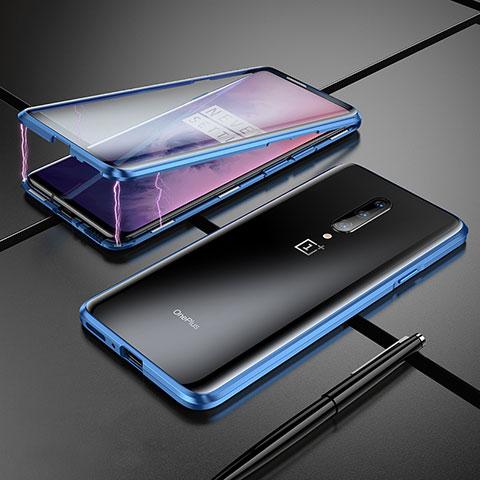 Custodia Lusso Alluminio Laterale Specchio Cover per OnePlus 7 Pro Blu