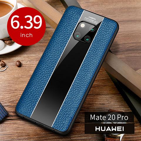 Custodia Lusso Pelle Cover S01 per Huawei Mate 20 Pro Blu