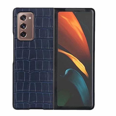 Custodia Lusso Pelle Cover S02 per Samsung Galaxy Z Fold2 5G Blu