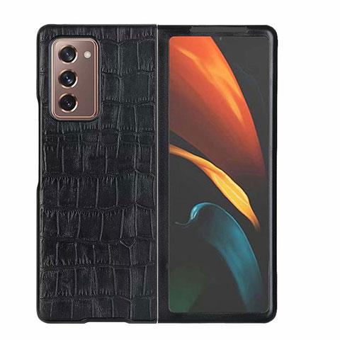 Custodia Lusso Pelle Cover S02 per Samsung Galaxy Z Fold2 5G Nero