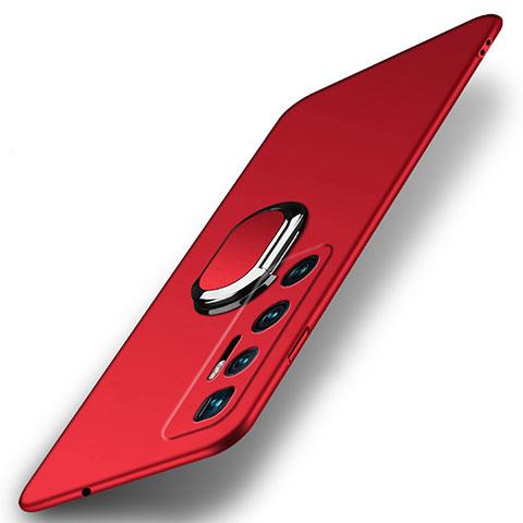 Custodia Plastica Rigida Cover Opaca con Magnetico Anello Supporto A01 per Xiaomi Mi 10 Ultra Rosso
