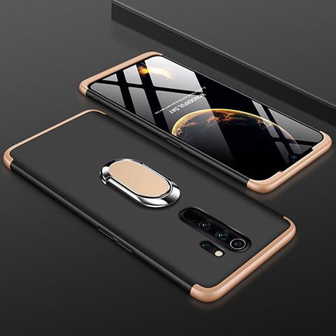 Custodia Plastica Rigida Cover Opaca Fronte e Retro 360 Gradi con Anello Supporto per Xiaomi Redmi Note 8 Pro Oro e Nero