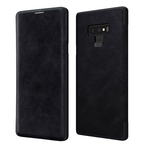 Custodia Portafoglio In Pelle con Supporto per Samsung Galaxy Note 9 Nero
