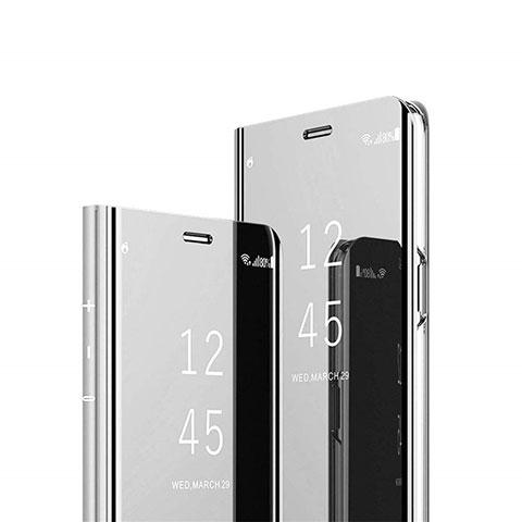 Custodia Portafoglio In Pelle Cover con Supporto Laterale Specchio Cover L02 per Xiaomi Mi 10 Ultra Argento
