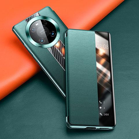 Custodia Portafoglio In Pelle Cover con Supporto T04 per Huawei Mate 40 Pro Verde