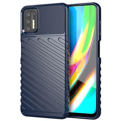 Custodia Silicone Cover Morbida Line per Motorola Moto G9 Plus Blu