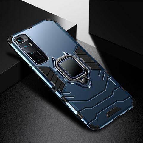 Custodia Silicone e Plastica Opaca Cover con Magnetico Anello Supporto S01 per Xiaomi Mi 10 Ultra Blu