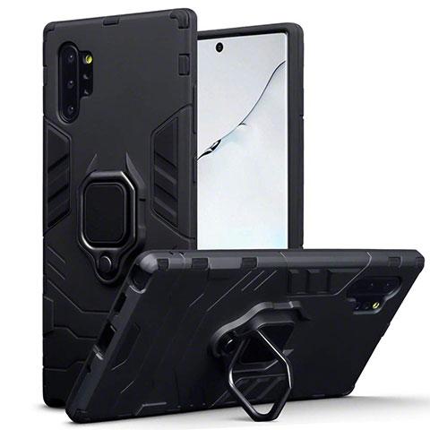 Custodia Silicone e Plastica Opaca Cover con Magnetico Supporto A03 per Samsung Galaxy Note 10 Plus 5G Nero